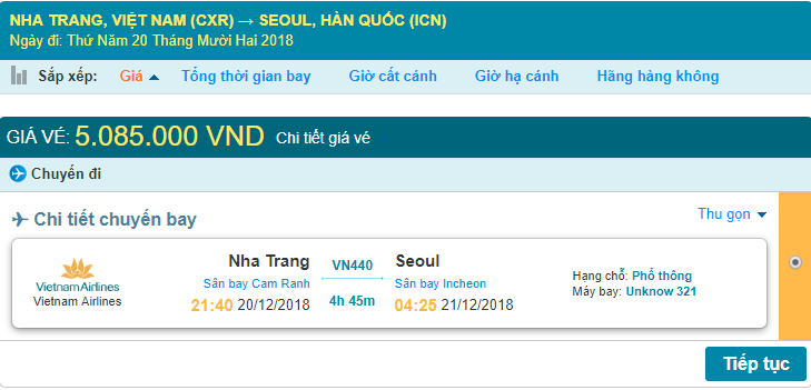 Chi tiết giá vé máy bay Nha Trang đi Seoul