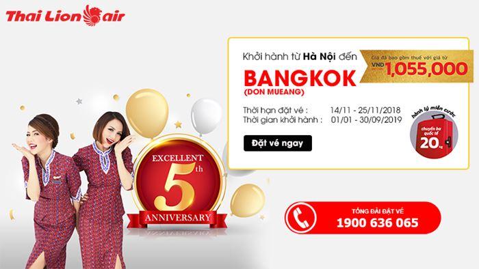 Chỉ 45 USD bay thẳng từ Hà Nội đến BangKok