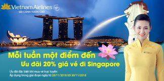 Giảm 20 % vé máy bay đi Singapore khi bay Vietnam Airlines
