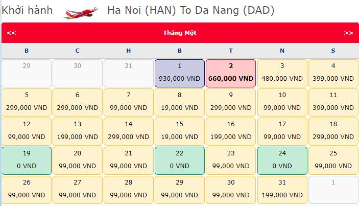 Giá vé máy bay 0 đồng hành trình từ Hà Nội đi Đà Nẵng
