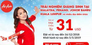 Khuyến mãi mùa giáng sinh từ Air Asia vé máy bay chỉ 31 USD