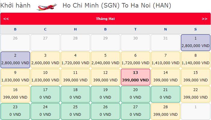 Giá vé má bay khuyến mãi 0 đồng từ Hồ Chí Minh đi Hà Nội