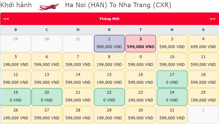 Giá vé máy bay 0 đồng hành trình từ Hà Nội đi Nha Trang