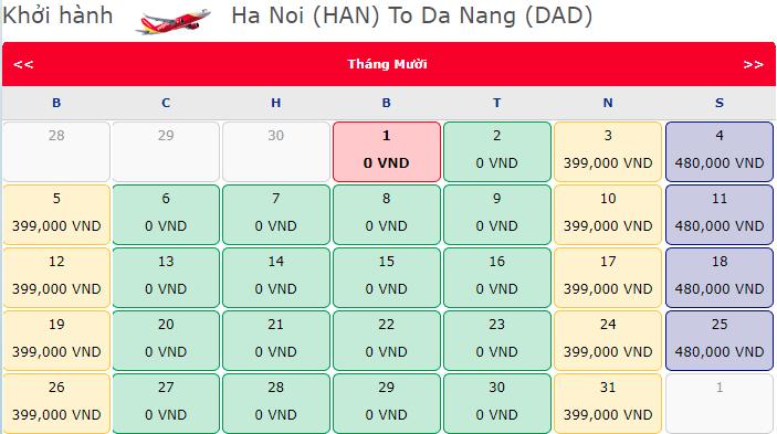 Khuyến mãi 1.800.000 vé 0 đồng hành trình Hà Nội đi Đà Nẵng
