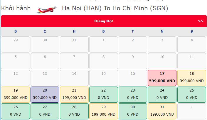 Vé máy bay 0 đồng hành trình Hà Nội đi Hồ Chí Minh