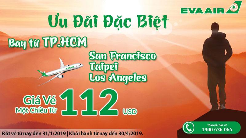 Khởi hành đầu năm cùng Eva Air giá vé chỉ 112 USD