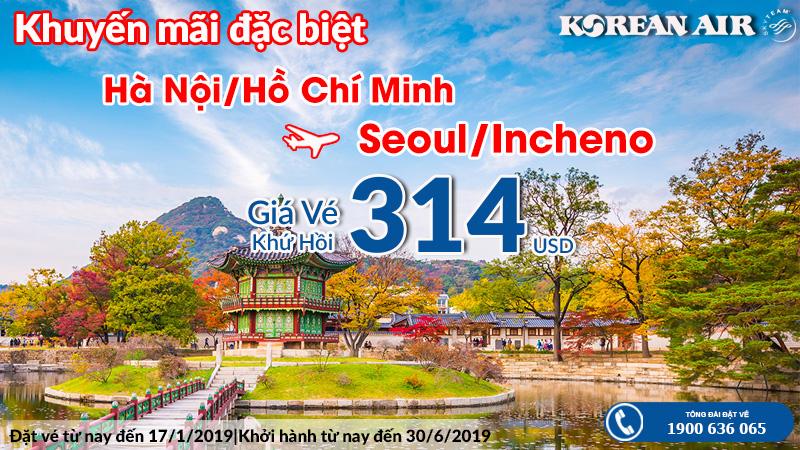 Vé máy bay khứ hồi đi Seoul, Incheon chỉ từ 314 USD