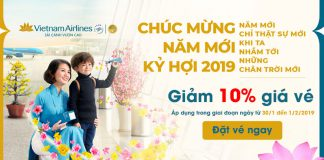 Nhân đôi niềm vui đón Tết Vietnam Airlines giảm 10% vé máy bay