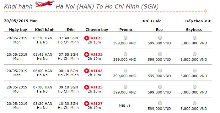 Giá vé máy bay hành trình Hà Nội đi Hồ Chí Minh tháng 5 của Vietjet