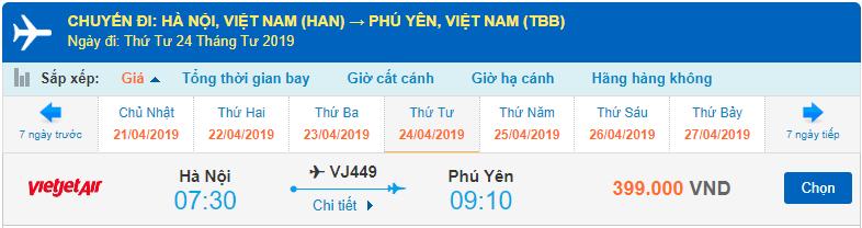 Vé máy bay đi Phú Yên của Vietjet Air