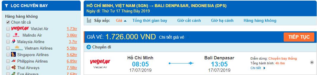 Giá vé máy bay từ Sài Gòn đi Bali