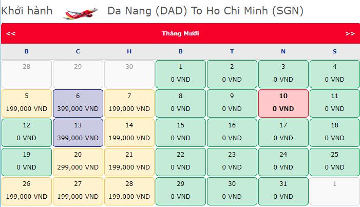 Vé máy bay 0 đồng hành trình Đà Nẵng - Hồ Chí Minh