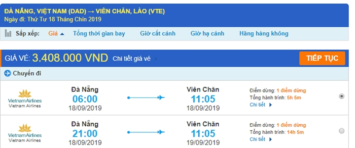 Giá vé máy bay Đà Nẵng Viêng Chăn