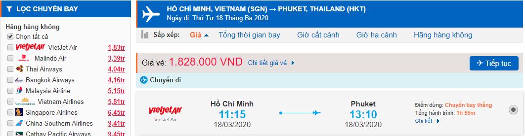 Giá vé máy bay đi Phuket Vietjet Air từ Hồ Chí Minh