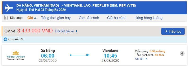 Vé máy bay Đà Nẵng đi Viêng Chăn