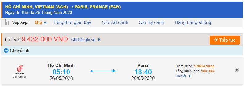 Vé máy bay TP.Hồ Chí Minh đi Paris Pháp