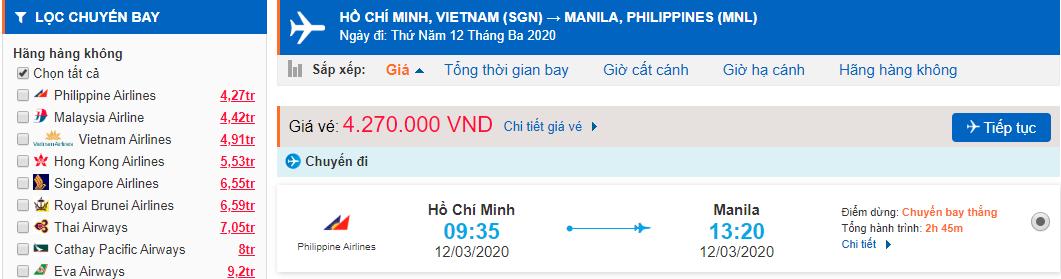 Giá vé máy bay từ Hồ Chí Minh đi Manila