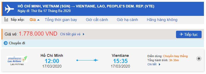 Giá vé máy bay từ Sài Gòn đi Viêng Chăn
