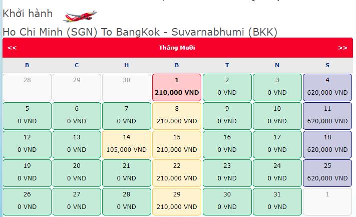 Giá vé máy bay khuyến mãi 0 đồng hành trình Hồ Chí Minh đi Thái Lan