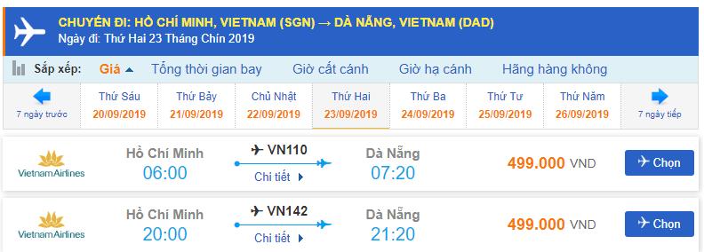 Giá vé máy bay Hồ Chí Minh đi Đà Nẵng Vietnam Airlines
