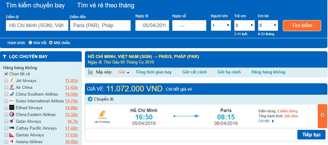 Giá vé máy bay từ Hồ Chí Minh đi Pháp