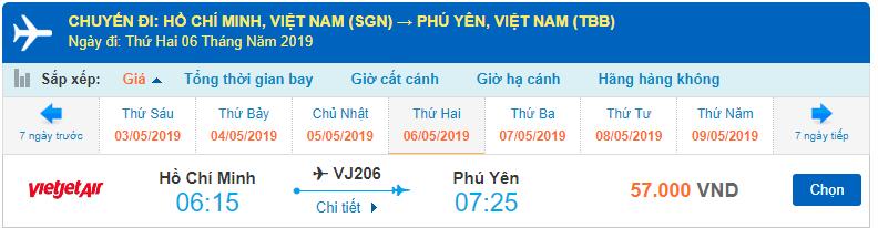 Vé máy bay đi Phú Yên của Vietjet Air từ Hồ Chí Minh