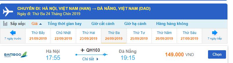 Giá vé máy bay Bamboo Airways đi Đà Nẵng