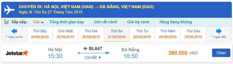 Giá vé máy bay 1 chiều từ Hà Nội đi Đà Nẵng