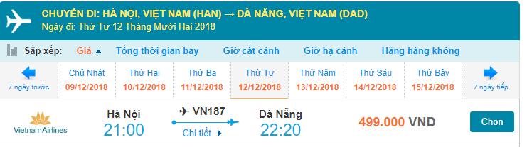Giá vé máy bay Hà Nội Đà Nẵng Vietnam Airlines