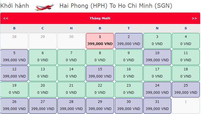 Vé máy bay 0 đồng hành trình Hải Phòng - Hồ Chí Minh