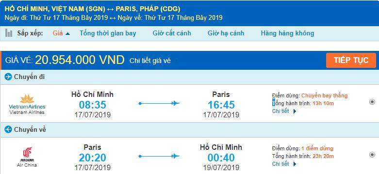 Giá vé máy bay khứ hồi đi Paris Pháp