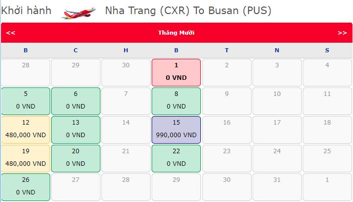 Giá vé máy bay khuyến mãi 0 đồng hành trình Nha Trang đi Busan