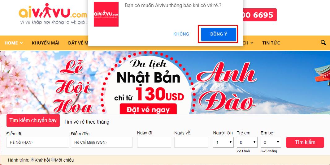 Nhận thôn báo về vé máy bay giá rẻ từ đại lý Aivivu