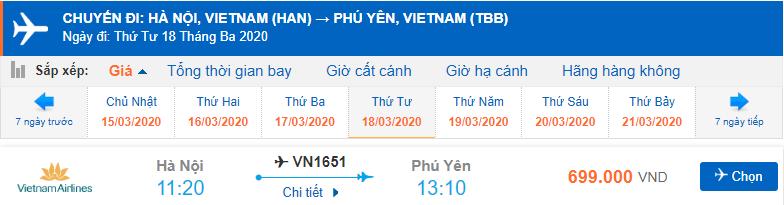 Giá vé máy bay vietnam airlines đi Phú Yên