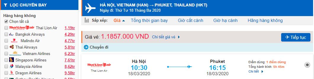 Vé máy bay từ Hà Nội đi Phuket