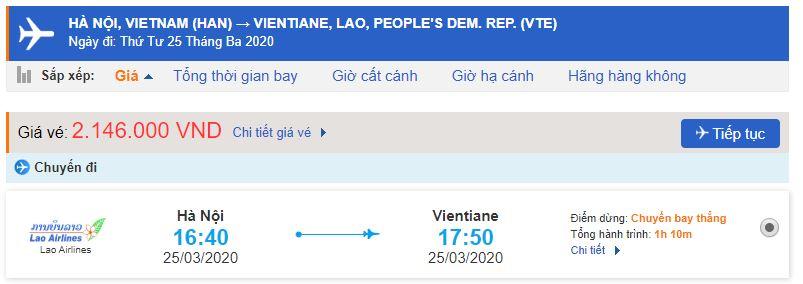 Giá vé máy bay đi Viên Chăn bao nhiêu tiền