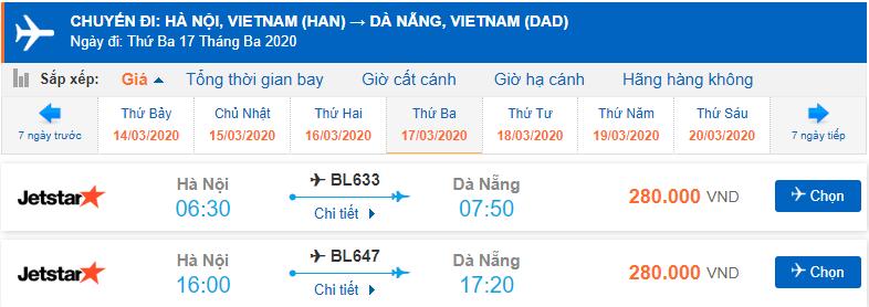 Vé máy bay đi Đà Nẵng Jetstar Pacific