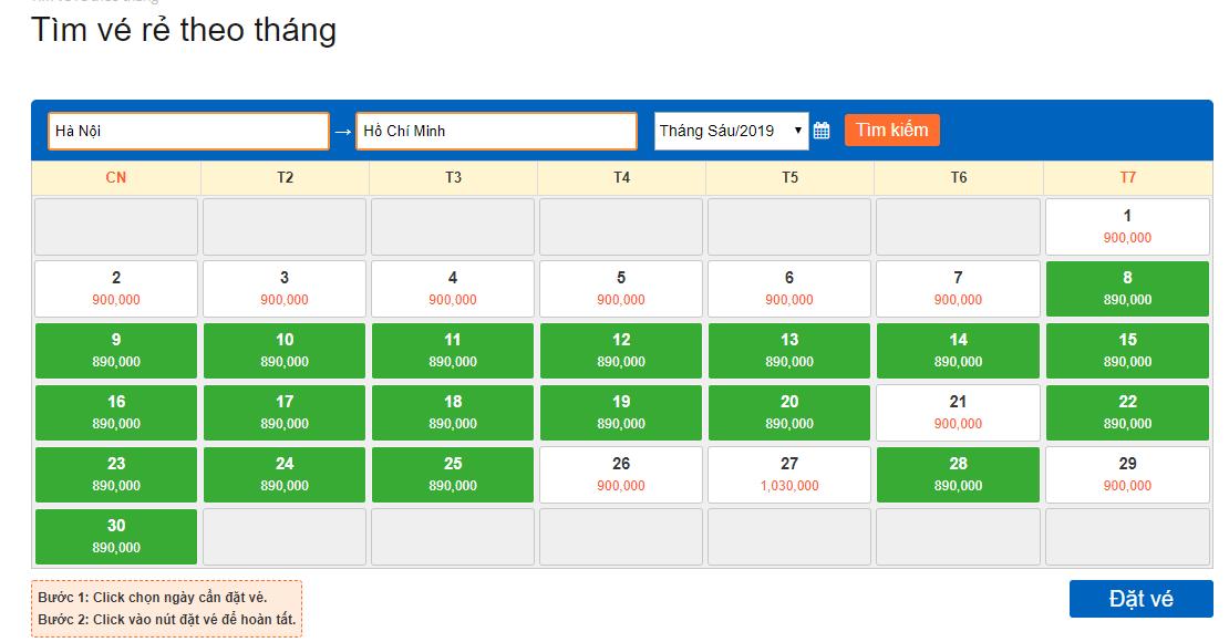 Bảng giá vé rẻ theo tháng hành trình Hà Nội đi Hồ Chí Minh