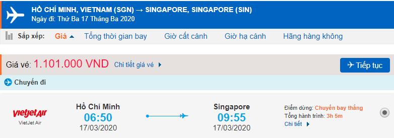 Vé máy bay đi Singapore Vietjet Air từ Hồ Chí Minh