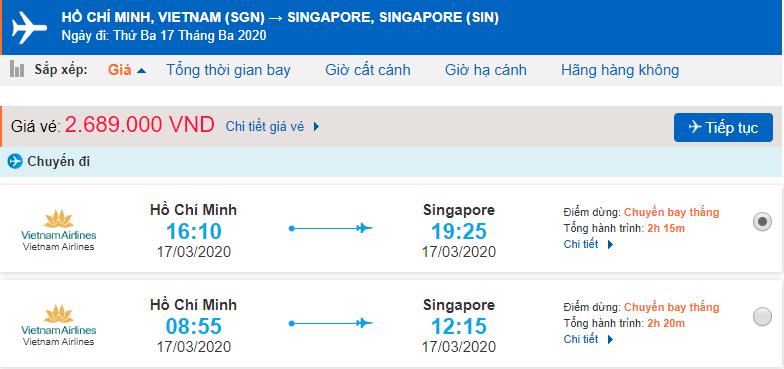Giá vé máy bay đi Singapore Vietnam Airlines từ Hồ Chí Minh