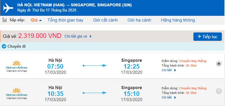 Giá vé máy bay đi Singapore Vietnam Airlines