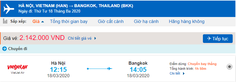 Giá vé máy bay đi Thái Lan Vietjet Air từ Hà Nội