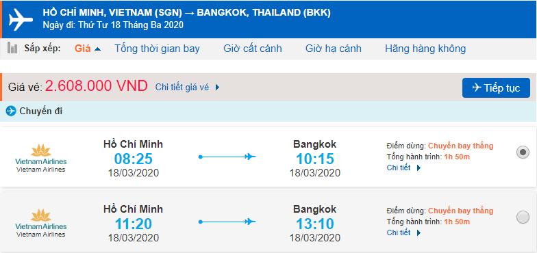 Vé máy bay đi Thái Lan Vietnam Airlines từ Hồ Chí Minh