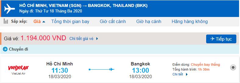Giá vé máy bay đi Thái Lan Vietjet Air