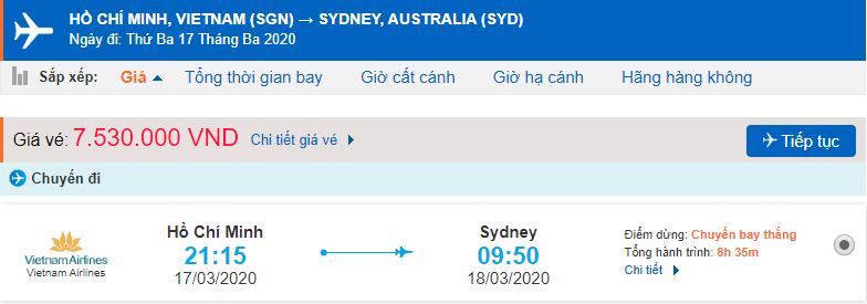 Giá vé máy bay đi Úc Vietnam Airlines