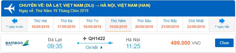 Giá vé máy bay Bamboo đi Đà Lạt