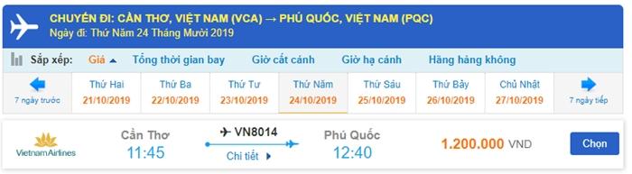 Giá vé máy bay Cần Thơ đi Phú Quốc Vietnam Airlines