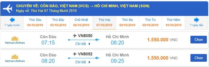 Giá vé máy bay đi Côn Đảo chuyến về