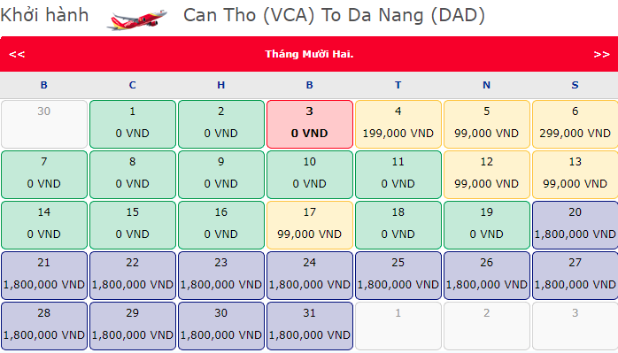 Giá vé máy bay 0 đồng của Vietjet từ Cần Thơ đi Đà Nẵng