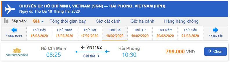Giá vé máy bay đi Hải Phòng Vietnam Airlines